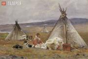 Borisov Alexander. A Nenets Yurt in Malye Karmakuly. Novaya Zemlya. 1896