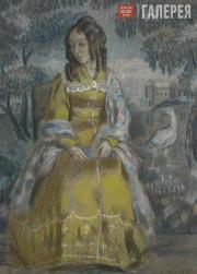 Borisov-Musatov Viktor. Lady by the Tapestry. Portrait of Nadezhda Stanyukovich.