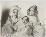 Bruni Fyodor. Portrait of the Princesses Vyazemsky: Praskovya, Nadezhda and Mari