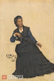 Repin Ilya. Woman Playing with an Umbrella. 1874