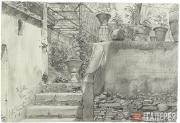 Scotti Mikhail. A Street in Rome (Via Ponte Pinciano). 1843