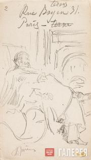 Repin Ilya. Vladimir Stasov Resting in a Chair by the Fireplace. Paris. Sheet fr