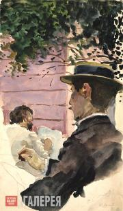 Somov Konstantin. The Artists Alexandre Benois and Léon Bakst at Work. 1896