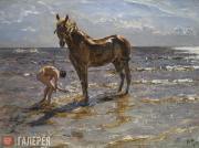 Serov Valentin. Bathing a Horse. 1905