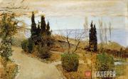 Levitan Isaaс. Small Garden in Yalta. Cypresses. 1886