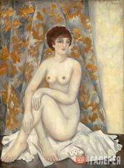 Goncharova Natalia. Nude in Front of Draperies. 1920