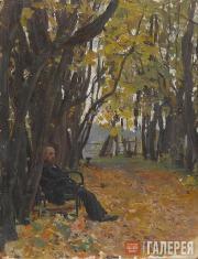 Serov Valentin. Vladimir Derviz on a Park Bench. 1892-1893