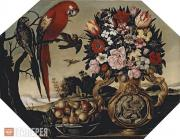 Unknown artist 17th century. Flowers and Parrots