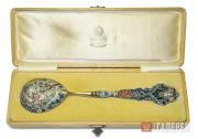 Faberge workshop. Dessert-spoon in the original box. 1908–1917