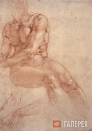 Микеланджело Буонарроти. Сидящий обнаженный юноша и два этюда руки. Ок. 1511