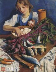 Serebryakova Zinaida. In the Kitchen. Portrait of Katya. 1924