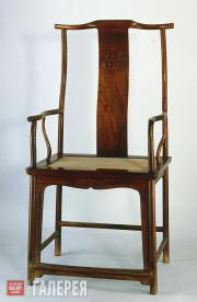 Yellow Rosewood Chair with a Mandarin-cap Shape and Yoke Back