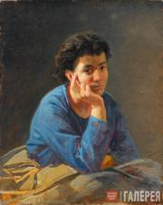 Ghe Nikolai. Portrait of Unknown Woman in a Blue Shirt. 1868