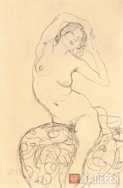 Klimt Gustav. Seated Nude with Arms Crossed behind Her Head. c. 1915