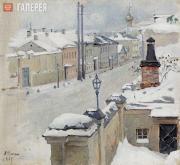 Якунчикова Мария. Москва зимой. Вид из окна на Среднюю Кисловку. 1889