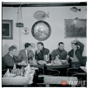 John DEAKIN. Colony Room members at lunch at Wheeler's restaurant in Soho