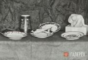 Agitprop porcelain at the exhibition of the 1st State Free  Art Workshops. 1919