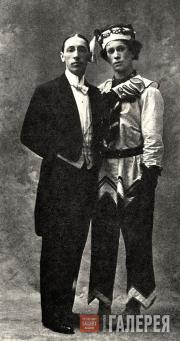 Igor Stravinsky and Vaslav Nijinsky as Petrushka, 1911