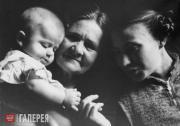Adelaida Pologova with her son Alyosha and aunt Anna Pologova. 1955