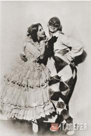 "Vaslav Nijinsky and Tamara Karsavina in the ballet ""Carnaval"""
