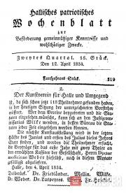 """Статья в газете """"Hallesches patriotisches Wochenblatt"""" (1834), вышедшая по случа"""