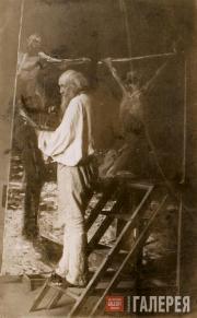 Н.Н. Ге в мастерской. Около 1892
