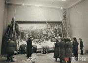 "Hanging of Vasily Surikov's painting ""Boyarynya Morozova"". 1945"