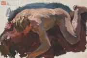 """Plastov Arkady. Sketch for the painting """"Bathing the Horses"""". Nude Form. No. 2."""