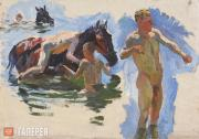 """Plastov Arkady. Sketch for the painting """"Bathing the Horses"""". Bathing the Horses"""