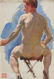 """Plastov Arkady. Sketch for the painting """"Bathing the Horses"""". Nude Form. No. 1."""