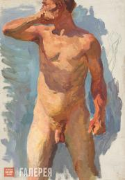"""Plastov Arkady. Sketch for the painting """"Bathing the Horses"""". Nude Form. No. 14."""