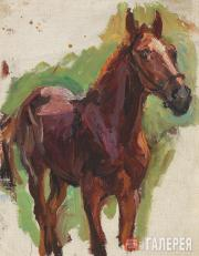 """Plastov Arkady. Sketch for the painting """"Bathing the Horses"""". The Horse. No. 4."""