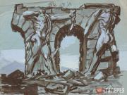 Plastov Arkady. Ruins with Bas-reliefs of Warriors. 1930s