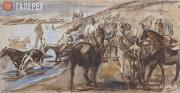 """Plastov Arkady. Sketch No. 2 for the painting """"Bathing the Horses"""". 1936"""