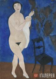 Shevchenko Alexander. Nude against a Blue Background. 1916