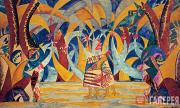 """Larionov Mikhail. Forest. Sketch of the set for Anatoly Lyadov's ballet """"Russian"""