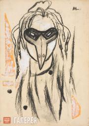 "Larionov Mikhail. Mask of a Rooster. Sketch for Igor Stravinsky's ballet ""The Fo"