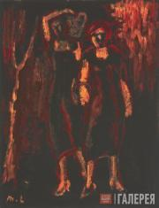 Larionov Mikhail. Two Women on a Black Background. Second half of the 1920s-firs