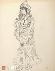 Goncharova Natalia. A Spanish Woman. Costume sketch. 1910s-1920s