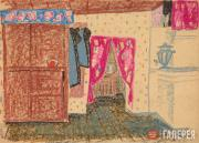 Popkov Viktor. Interior with Red Curtains. 1966