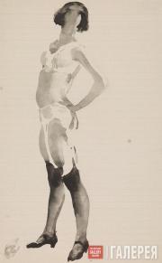 Lebedev Vladimir. Female Model in Black Stockings and Light Lingerie. 1926