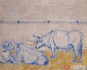 David BURLYUK. Oxen. 1908