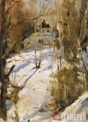 Serov Valentin. Winter in Abramtsevo (a sketch). 1886