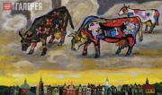 Korbakov Vladimir. Cows of Picasso Grazing in the Sky Above Amsterdam. 2010