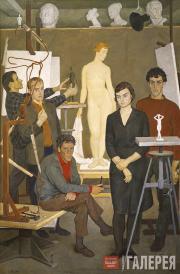 Жилинский Дмитрий. Групповой портрет студентов-скульпторов. 1964