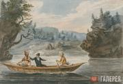 Svinin Pavel. Two Indians and a White Man in a Canoe. 1811-c. 1813