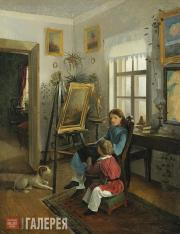 Khrutsky Ivan. In the Rooms of the Artist's Estate. The Children at the Easel. 1