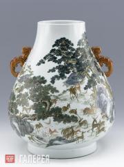Famille-rose Hundred Deer Vase Jingdezhen ware Porcelain
