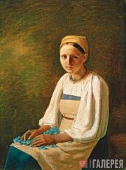Venetsianov Alexei. A Peasant Girl with Cornflowers. 1820s