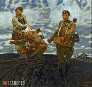 Samsonov Marat. Spring 1945. Soldiers Sowing Seed. 1992
